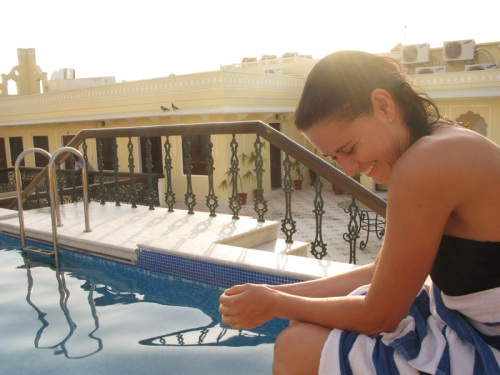 Swimming Pool Happy Girl Laugh Rooftop Cute Sunset